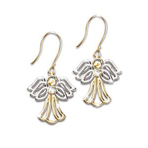 """""""My Dear Granddaughter"""" Diamond Angel Earrings"""