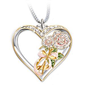 Mother-Daughter Swarovski Crystal Rose Pendant Necklace