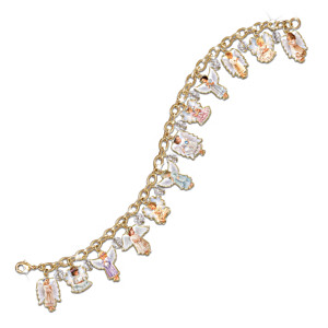 """Heaven's Little Angels"" Swarovski Crystal Charm Bracelet"