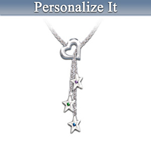 """""""Mother's Shining Stars"""" Personalized Birthstone Necklace"""