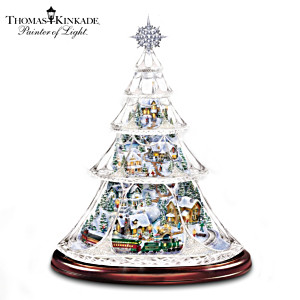 Thomas Kinkade Crystal Tree With Moving Train, Lit Village