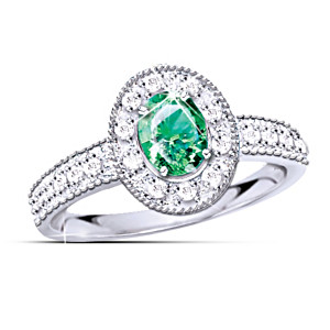 Emerald And Diamond 10K White Gold Ring