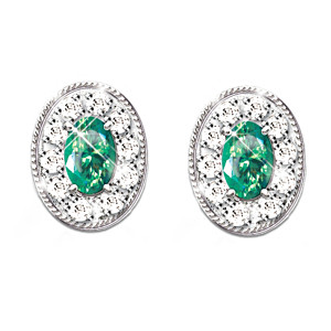 The Emerald Oval Solitaire And 20-Diamond Earrings