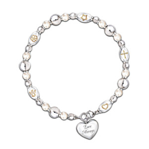 Diamond And Pearl Bracelet With Heart Charm For Daughter