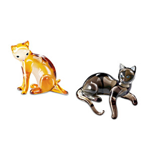 """Cat-itudes"" Jewel-Toned Glass Cat Figurine Set: Shy And Coy"
