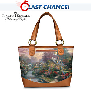 "Thomas Kinkade ""Lamplight Bridge"" Carryall Tote Bag"