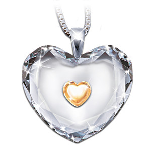 """Dear Daughter, Heart Of Gold"" Crystal Pendant"