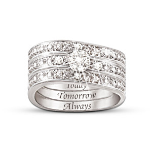 """Today, Tomorrow, Always"" Engraved Diamond 3 Band Ring"