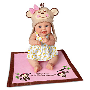 """""""Being A Baby Is No Monkey Business"""" Lifelike Baby Doll"""