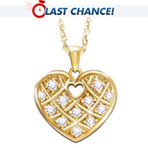 Engraved Heart Pendant Necklace Wth 12 Diamonds