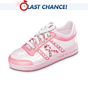 """Walk For A Cure"" Pink Tennis Shoe Music Box"