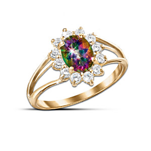 Yellow Gold And Mystic Topaz Women's Ring