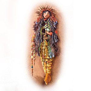 Native American-Inspired Art Doll For Wall Display