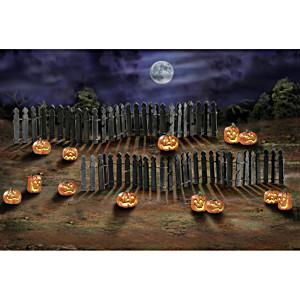Rickety Fence And Jack O'Lantern Halloween Village Accessory