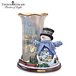 Thomas Kinkade Snowman And Luminaire With Moving Train