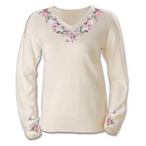 Lena Liu Embroidered Butterfly Art Sweater