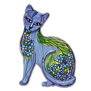 """Iris Intrigue"" Cat Art Heirloom Porcelain Wall Décor"
