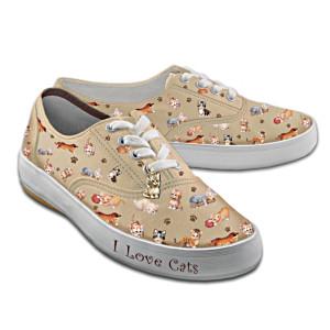 """""""Kitten Capers"""" Women's Canvas Sneakers"""
