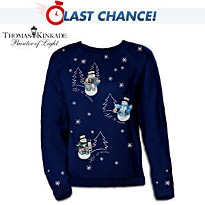 "Thomas Kinkade ""Wonders Of Winter"" Snowman Sweater"