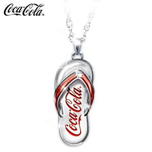 Coca-Cola Engraved Diamond Flip-Flop Pendant Necklace