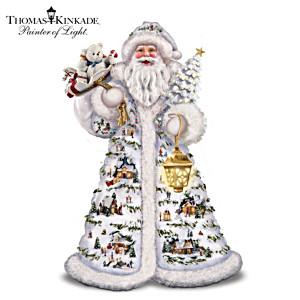 Kinkade Father Christmas Figurine With 15 Villages, Lights