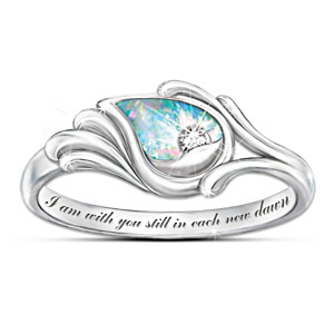 """I Am With You"" Diamond & Created Opal Sterling Silver Ring"