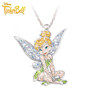 Tinker Bell Engraved Swarovski Crystal Pendant Necklace