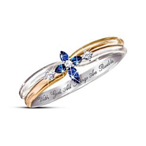 The Holy Trinity Sapphire And Diamond Cross  Ring