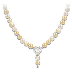 """Today, Tomorrow, Always"" Golden Cultured Pearl Necklace"