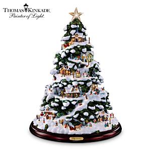 "Thomas Kinkade ""Village Christmas"" Illuminated Tabletop Tree"