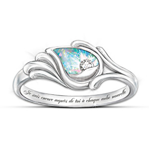 """""""Je Suis Avec Toi"""" Diamond & Created Opal Silver Ring"""