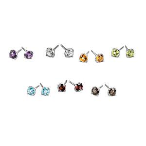 Set Of 7 Genuine Gemstone Sterling Silver Stud Earrings
