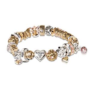 "Swarovski Crystal ""Heartfelt Wishes"" Daughter Charm Bracelet"