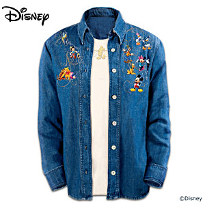 Disney Characters Embroidered Denim Shirt Set