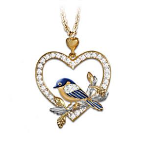 Bluebird Pendant Necklace With Swarovski Crystals