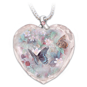 Lena Liu Butterfly Art Breast Cancer Support Crystal Pendant