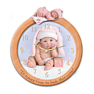 Cute Baby Wall Clock With Sculpted Figure