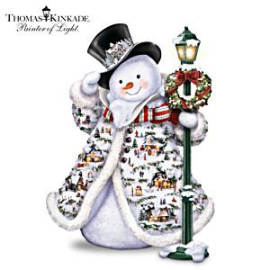Illuminated Thomas Kinkade Snowman With Faux Fur