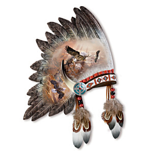 Ted Blaylock Ceremonial Warrior Headdress Wall Sculpture