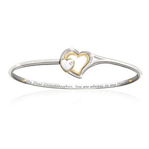 Engraved Heart Clasp Diamond Bracelet For Granddaughter