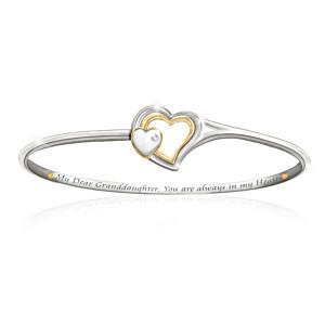 Engraved Heart Clasp Diamond Bracelet For Granddaughter
