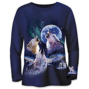 "Robin Koni Wolf Art Cotton Shirt With Faux Jewel ""Stars"""