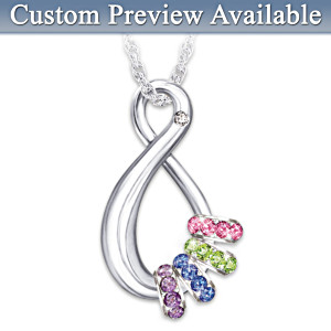 """Mother's Infinite Joy"" Personalized Birthstone Pendant"