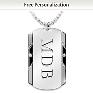 Personalized Dog Tag Pendant For Son With Two Diamonds