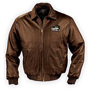 Al Agnew Fishing Art Leather Men's Jacket