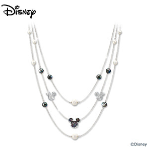 3-Tier Diamonesk Mickey Necklace With Mother Of Pearl