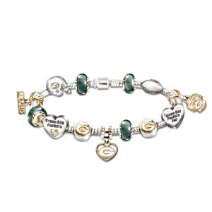Green Bay Packers Charm Bracelet With Swarovski Crystals