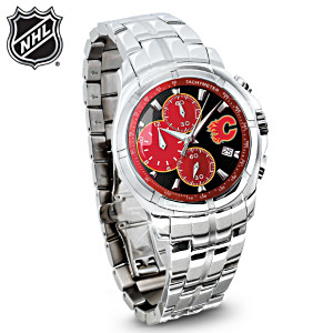 Calgary Flames® Stainless Steel Chronograph Watch