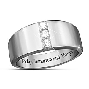 Sterling Silver Men's 3-Diamond Ring With Engraved Message