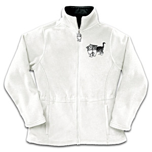 Lisa McCue Cat Art Reversible Fleece Jacket